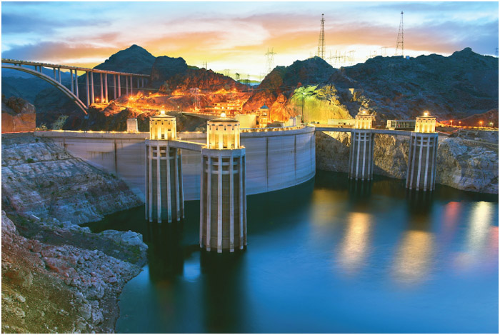 Evening view of the Hoover Dam in Boulder, Nevada, USA.
