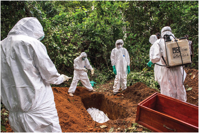 A suspected Ebola victim is buried in the forest outside Komende Luyama. Eastern Sierra Leone was a hot spot for Ebola for several months, but eventually authorities contained infection rates to just a few cases per week.