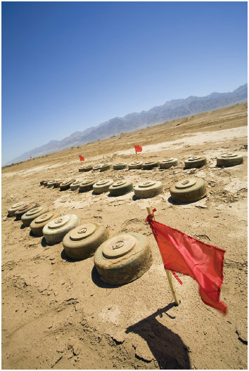 Mine field in the desert.