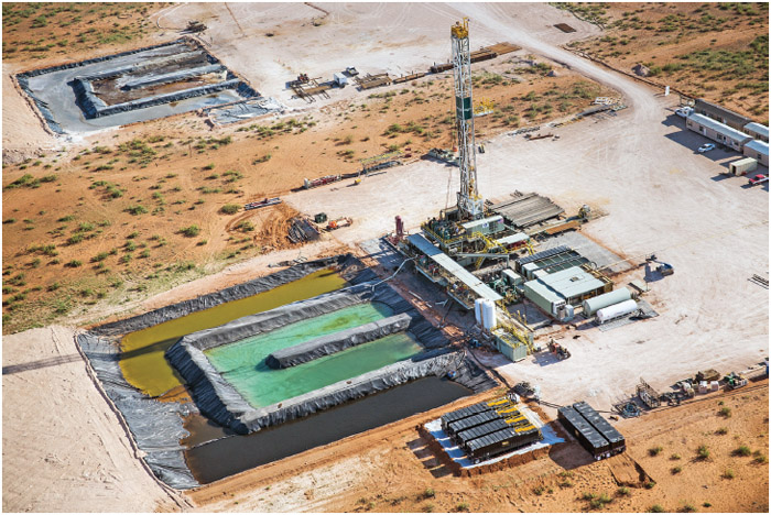 Aerial view of a drilling rig at a fracking site in Midland, Texas.