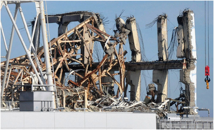 Photo taken on November 12, 2011, shows the No. 3 reactor building at the Fukushima Daiichi nuclear power plant in Fukushima Prefecture, northeastern Japan that was damaged by an explosion after the March 11th earthquake and tsunami.
