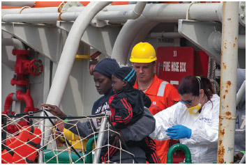 The Doctors Without Borders (MSF) ship arrived at the port of Palermo, Italy on May 29, 2016 carrying about 600 african migrants.