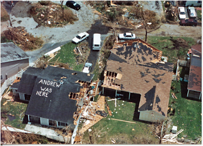 Destruction from Hurricane Andrew in 1992.