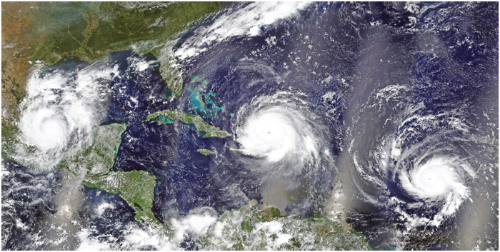 Overview of three hurricanes Irma, Jose and Katia in the Caribbean Sea and the Atlantic Ocean - Elements of this image furnished by NASA.