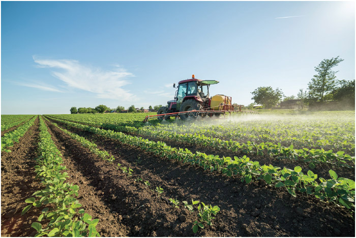 Farmer spraying a soybean field with pesticides and herbicides.