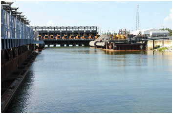 Hurricane and flood protection locks in Lake Pontchartrain at seventeenth Street Canal, New Orleans, Louisiana.