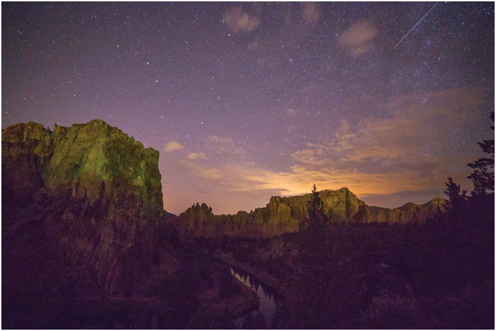 The once dark skies of Oregon's Smith Rock State Park are threatened by light pollution from the nearby growing towns of Bend, Redmond, and as shown here, Madras.