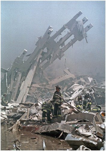 World Trade Center fire/terrorism September 11, 2001. Emergency personnel outside One WTC.