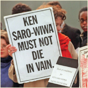 On November 10, 1995, human rights activist and writer, Ken Saro-Wiwa, was executed in Nigeria, despite massive protests from the international community.