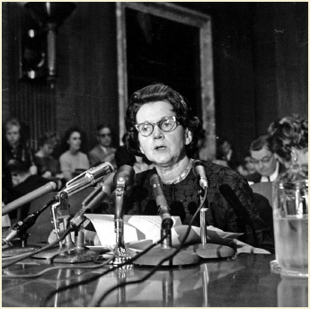Activist and author Rachel Carson, whose book Silent Spring led to a study of pesticides, testifies before a Senate Government Operations Subcommittee in Washington, DC on June 4, 1963.
