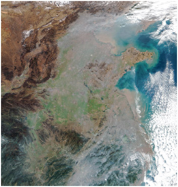 Smog over northeastern China, including the cities of Beijing & Tianjin, on December 6, 2016, as captured by the Visible Infrared Imaging Radiometer Suite (VIIRS) on the Suomi NPP satellite.