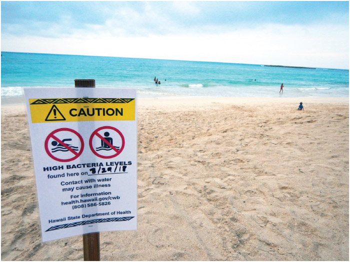 """Hawaii State Department of Health, posted a """"Caution High Bacteria Levels"""" found at Kailua Beach Park on March 29, 2018, contact with water may cause illness, however,"""