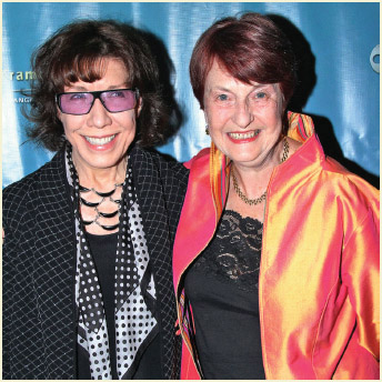 """Helen Caldicott (right) and Lily Tomlin (left) attend Kat Kramer's Films That Change The World: Fallout 5th Anniversary Think-Tank"""" in Hollywood, California, November 14, 2013."""