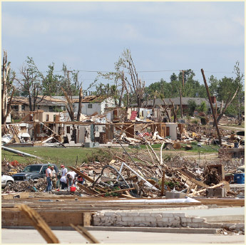 Clean-up of the massive damage caused to 1/3 of the city by the historic EF-5 Tornado that tore through this small midwestern city on June 25,2011 in Joplin, Missouri.