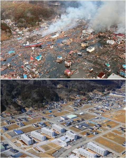 Compiled photo shows aerial views from a Kyodo News helicopter of the Shishiori district of Kesennuma in Miyagi Prefecture on March 12, 2011