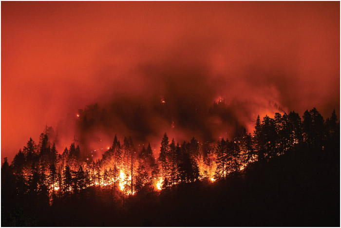 Eagle Creek Wildfire in Columbia River Gorge, Oregon.