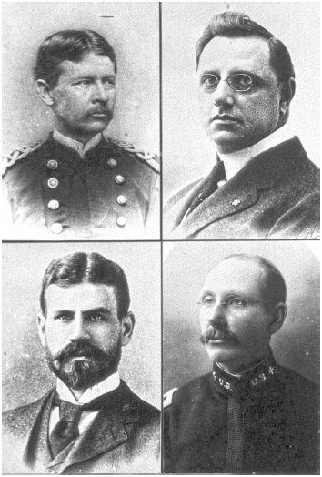 Top left hand corner, Walter Reed, top right hand corner, Aristedes Agramonte, bottom left, Jesse Lazear, bottom right, James Carroll. Walter Reed, (1851-1902) was a U.S.