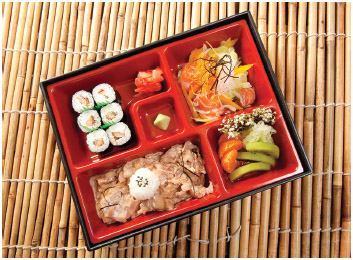 The bento box is a very popular lunch in Japan.
