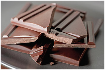 Dark chocolate contains flavonols, which are thought to have health benefits.