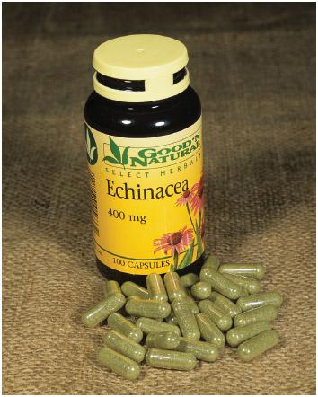 Bottle of echinacea capsules.