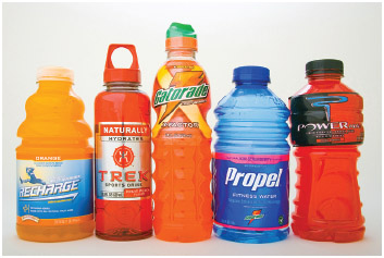 Sports drinks containing electrolytes.