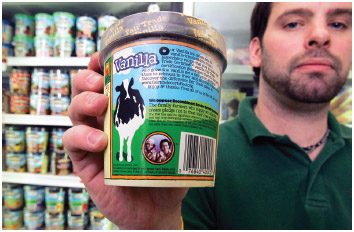 Ben & Jerry's ice cream uses milk from cows that have not been given recombinant bovine growth hormone (rBHG).