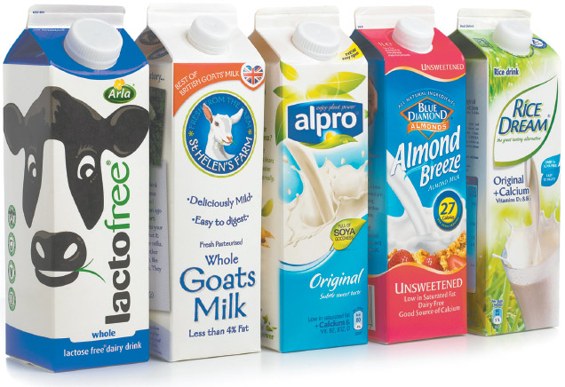 Lactose-free dairy milk, goat's milk, soya milk, almond milk, and rice milk.