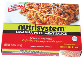 A package of Nutrisystem lasagna with meat sauce. Nutrisystem offers prepackaged, portion-controlled meal plans for people who are trying to lose weight.