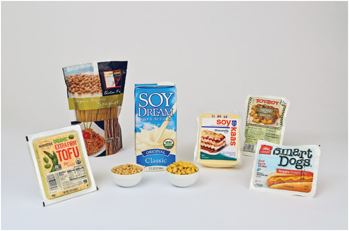 Food products that contain soy for those who are lactose intolerant or vegan, for example.