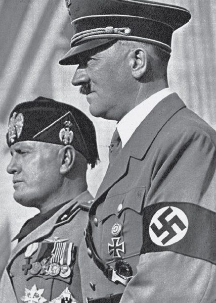 Adolf Hitler (right) stands with Benito Mussolini, who would be his ally during the war.