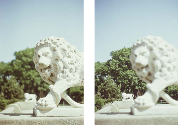 Depth of field is greater when the lens aperture is smaller. In a scene of great depth the use of an aperture of f2, for example, allows either foreground subjects (left) or background subjects (right) to be brought into focus, but not both