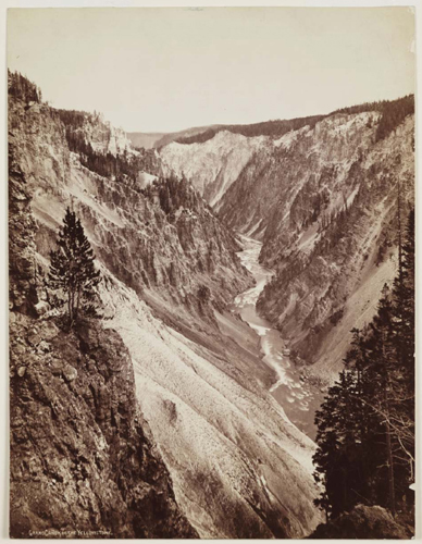 William Henry Jackson photographed the Grand Canyon in the Yellowstone area in 1872 while on a geologic survey expedition.