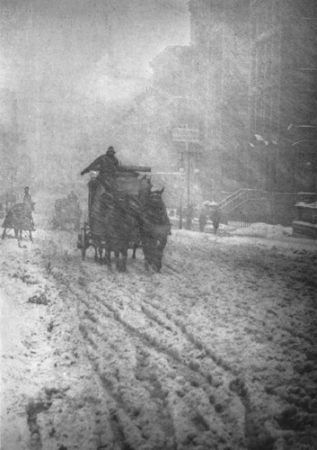Alfred Stieglitzs Winter, Fifth Avenue, a photogravure, was published in Camera Work, No. 12, in October 1905. Stieglitz worked to have photography accepted as a fine art.