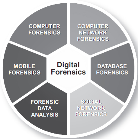 Digital forensics encompasses computer forensics, mobile forensics, computer network forensics, social networking forensics, database forensics, and forensic data analysis or the forensic analysis of large-scale data EBSCO illustration.