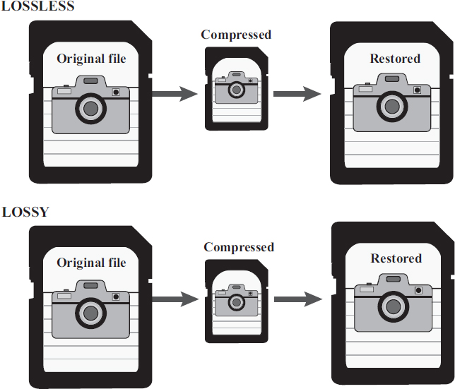 Depending on the image format, data may be lost after compression and restoration. Loss of image data reduces the quality of the image. EBSCO illustration.