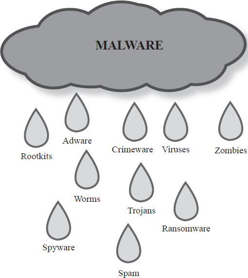 Malware consists of any software designed to cause harm to a device, steal information, corrupt data, confiscate or overwhelm the processor, or delete files.