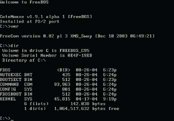 The FreeDOS command line interface is based on the original DOS (disk operating system) command line interface to provide individuals with an alternative to the more prevalent graphical user interface available with most operating systems.