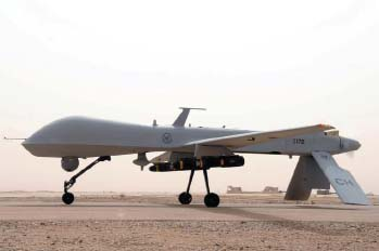 An MQ-1B Predator unmanned aircraft from the 361st Expeditionary Reconnaissance Squadron.