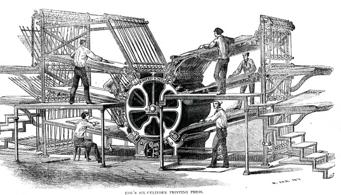 Richard March Hoe's 1864 printing press. Benedict Anderson's imagined communities grew out of nationalism fueled by the Industrial Revolution and printing press capitalism.