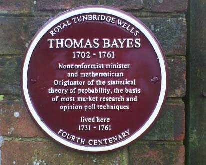Thomas Bayes (1702–1761) Nonconformist minister and mathematician. Originator of the statistical theory of probability, the basis of most market research and opinion poll techniques.