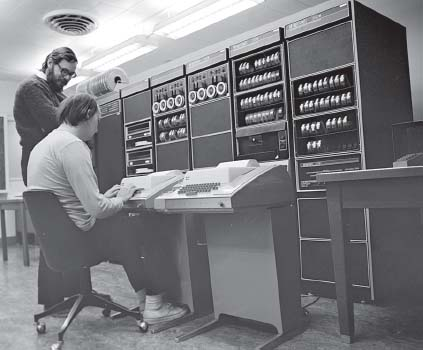 The creators of UNIX were Dennis Ritchie (standing) and Ken Thompson (sitting).