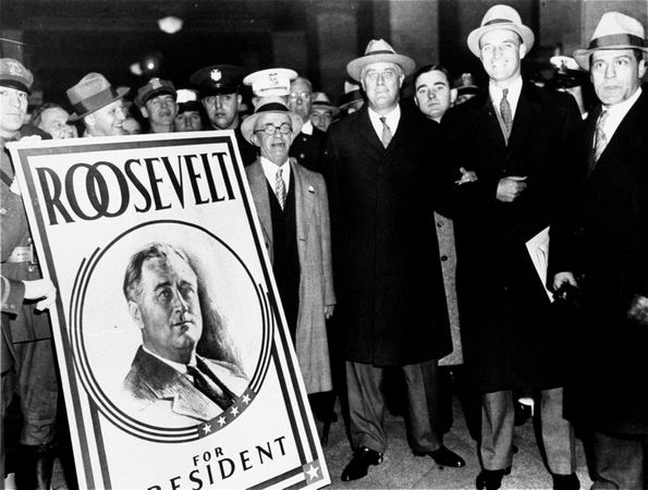 Franklin D. Roosevelt, arriving at Town Hall, Hyde Park, New York, one mile from his home, to vote November 6, 1928.