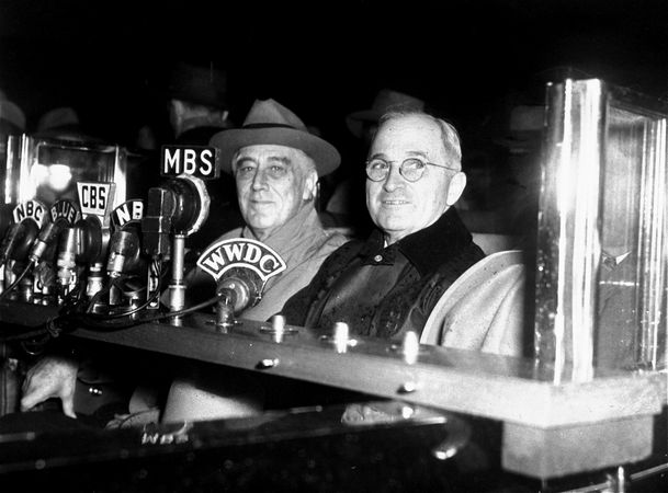 President Franklin D. Roosevelt and Vice Presidential running mate Harry S. Truman on the campaign trail for Roosevelt's unprecedented fourth term in 1944.