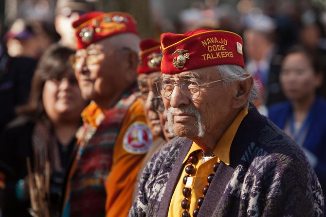 The Navajo Code talkers were a group of Native American Marines who invented and used a secret military code during World War II.