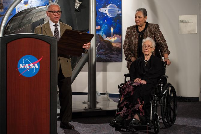 Mathematician, physicist, and space scientist Katherine Johnson worked on the American space program. She calculated trajectories for John Glenn's first orbital flight in 1962.