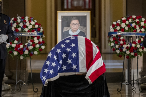 US Supreme Court Justice Ruth Bader Ginsburg lies in state in Statuary Hall in the US Capitol in Washington, DC on September 25, 2020. Justice Ginsburg, the second woman to serve on the Supreme Court, is the first woman to lie in state at the US Capitol.