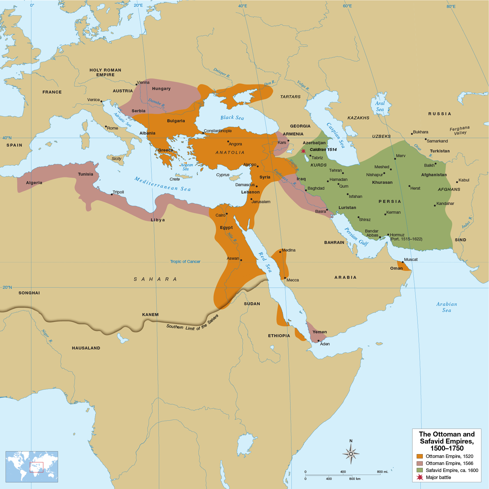 By the later 1500s the Ottoman Empire included large parts of western Asia, southeastern Europe, southern Russia, and North Africa. The Ottomans' major rivals, the Safavids, controlled Persia and parts of Iraq, the Caucasus, Afghanistan, and Central Asia.