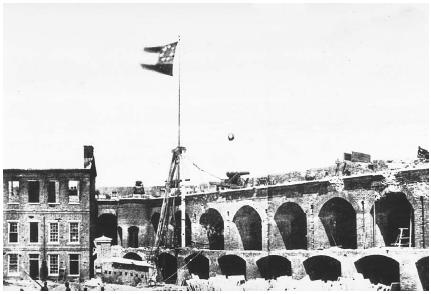 The Confederate flag flies following the South's victory over the North at Fort Sumter on April 4, 1861. (Courtesy of the National Archives and Records Administration.)