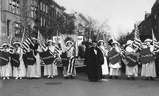 A float in a New York City womens suffrage parade, 1915  UPI/Corbis-Bettmann.