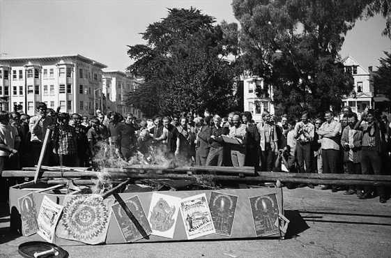 Hippies in the Haigh Ashbury district of San Francisco, California, stage a funeral of  themselves using a cardboard coffin in an effort to spread their pure hippie message to the country.  Corbis-Bettmann.
